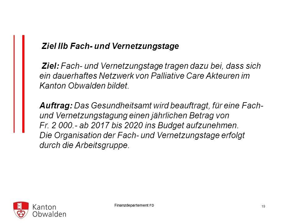 Finanzdepartement FD Ziel IIb Fach- und Vernetzungstage Ziel: Fach- und Vernetzungstage tragen dazu bei, dass sich ein dauerhaftes Netzwerk von Palliative Care Akteuren im Kanton Obwalden bildet.