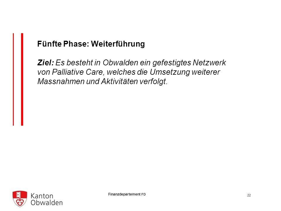 Finanzdepartement FD Fünfte Phase: Weiterführung Ziel: Es besteht in Obwalden ein gefestigtes Netzwerk von Palliative Care, welches die Umsetzung weiterer Massnahmen und Aktivitäten verfolgt.