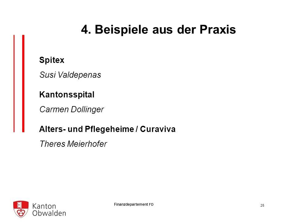 Finanzdepartement FD Spitex Susi Valdepenas Kantonsspital Carmen Dollinger Alters- und Pflegeheime / Curaviva Theres Meierhofer 25 4.