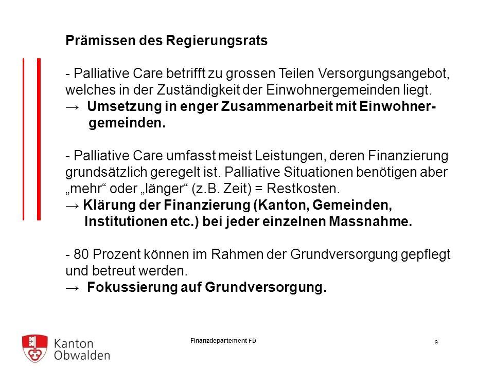 Finanzdepartement FD Prämissen des Regierungsrats - Palliative Care betrifft zu grossen Teilen Versorgungsangebot, welches in der Zuständigkeit der Einwohnergemeinden liegt.
