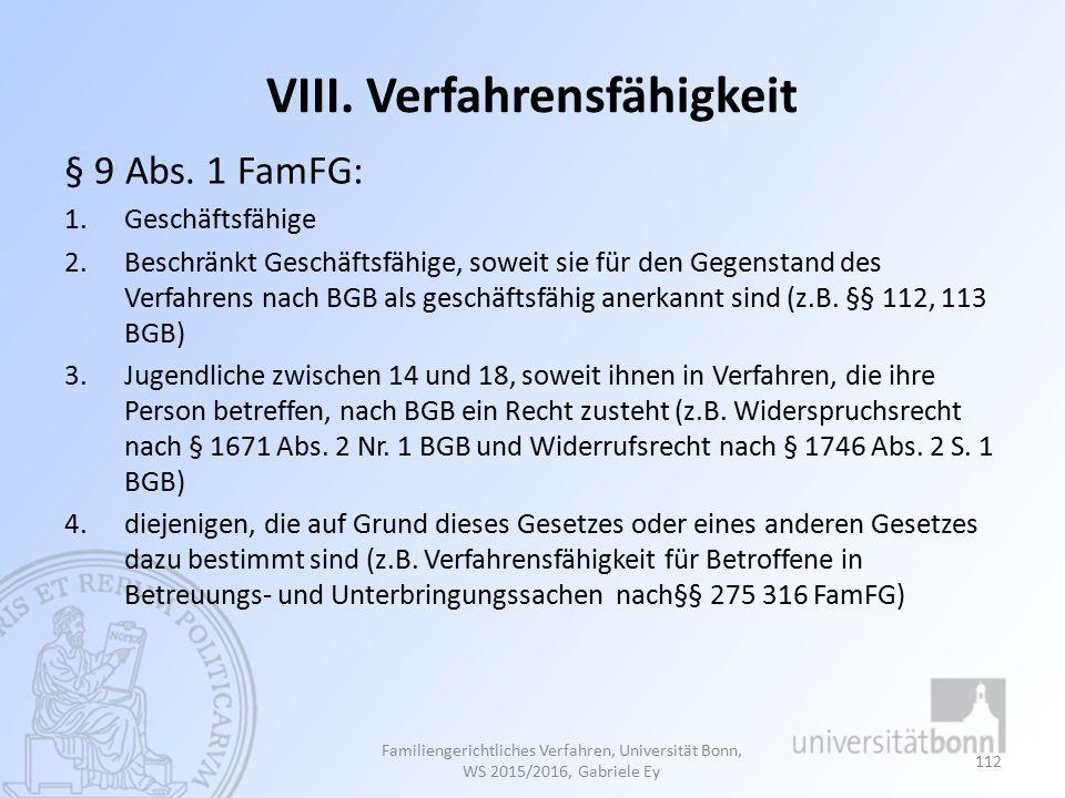 VIII.Verfahrensfähigkeit § 9 Abs.