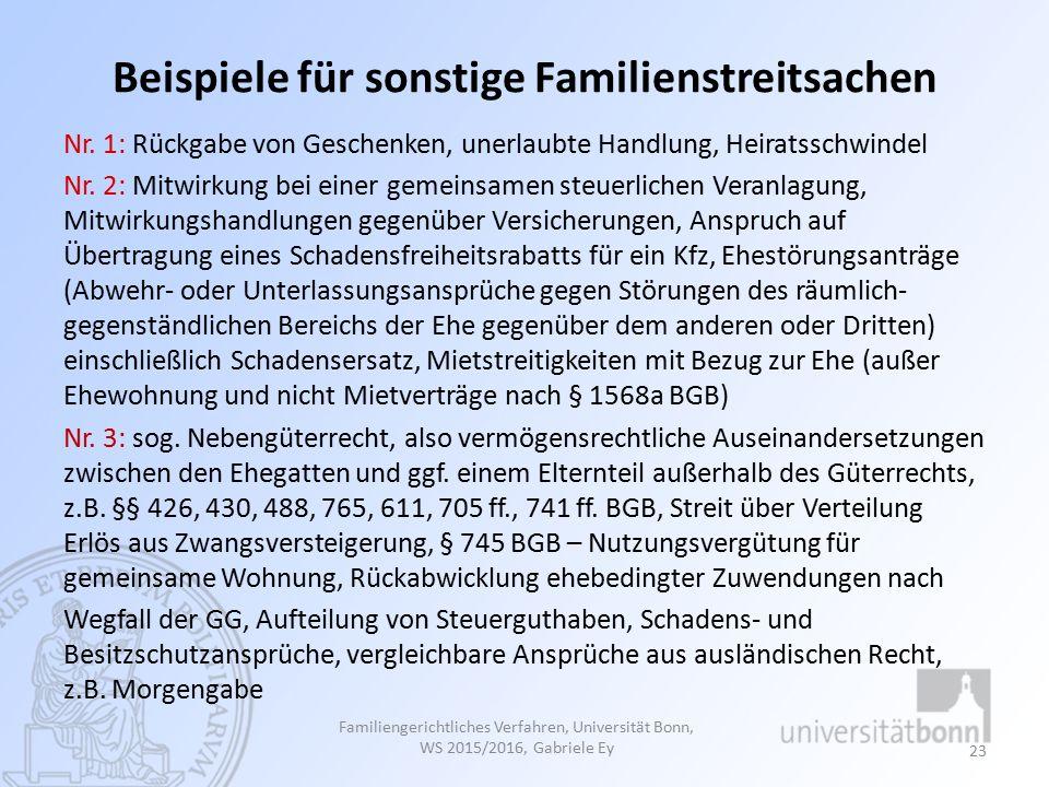 Beispiele für sonstige Familienstreitsachen Nr.