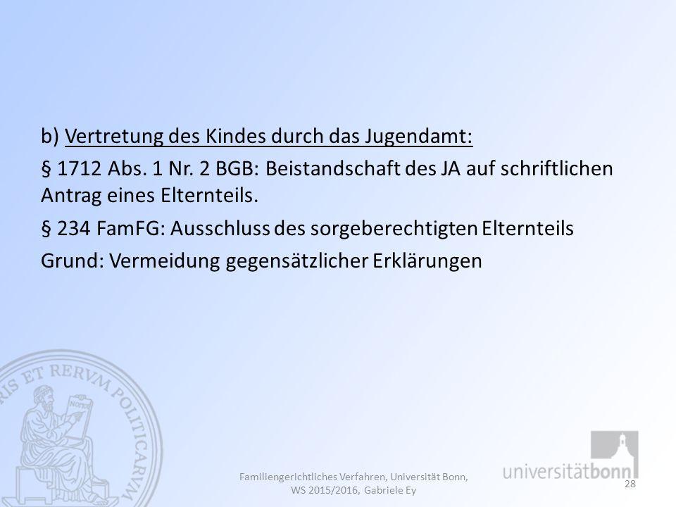 b) Vertretung des Kindes durch das Jugendamt: § 1712 Abs.