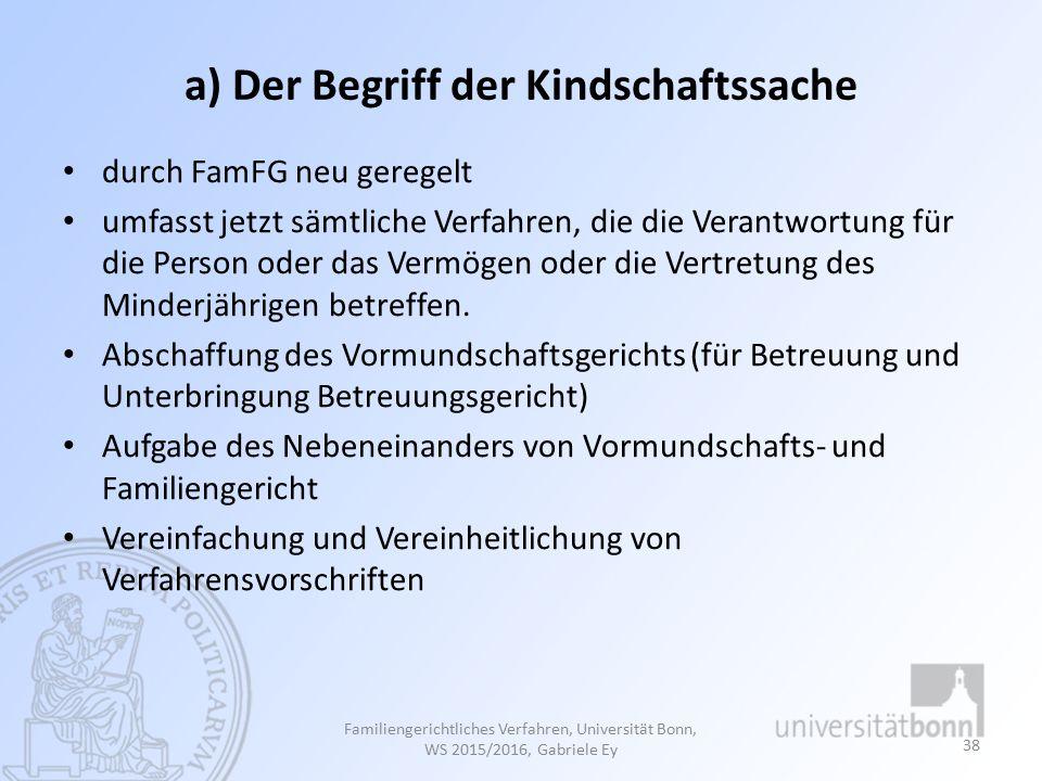 a) Der Begriff der Kindschaftssache durch FamFG neu geregelt umfasst jetzt sämtliche Verfahren, die die Verantwortung für die Person oder das Vermögen oder die Vertretung des Minderjährigen betreffen.
