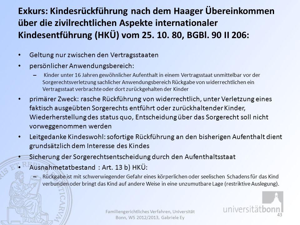 Exkurs: Kindesrückführung nach dem Haager Übereinkommen über die zivilrechtlichen Aspekte internationaler Kindesentführung (HKÜ) vom 25.