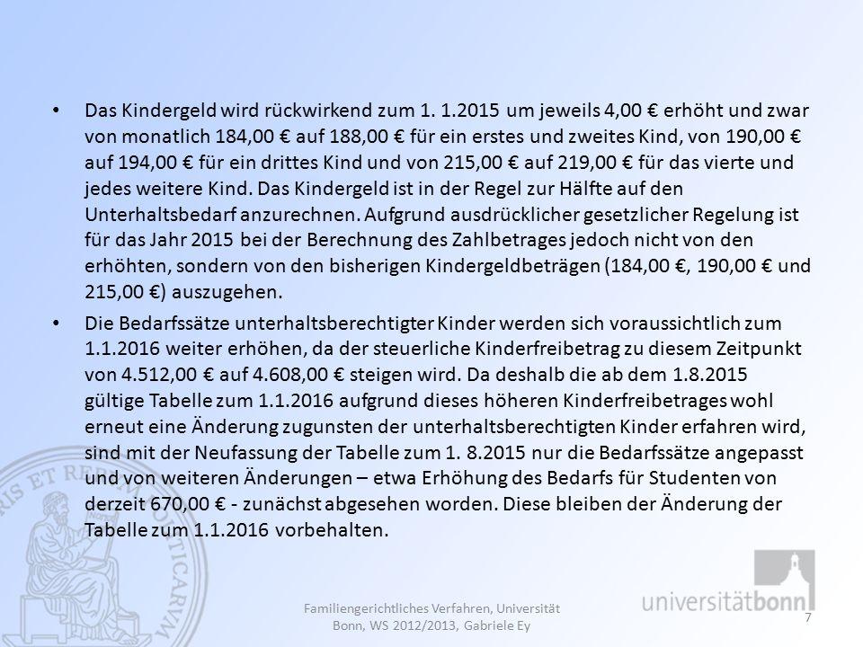 (2) Elternunterhalt Grundzüge der Berechnung Selbstbehaltssätze Geltendmachung aus übergegangenem Recht Familiengerichtliches Verfahren, Universität Bonn, WS 2015/2016, Gabriele Ey 8