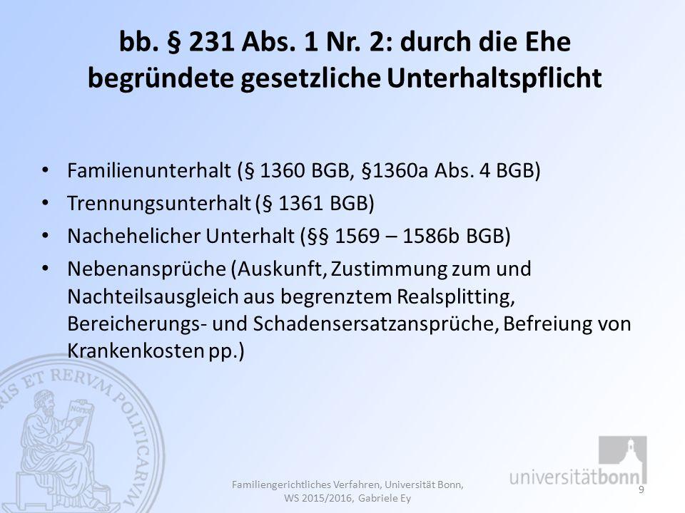 (1) Familienunterhalt - § 1360 BGB § 1360a Abs.