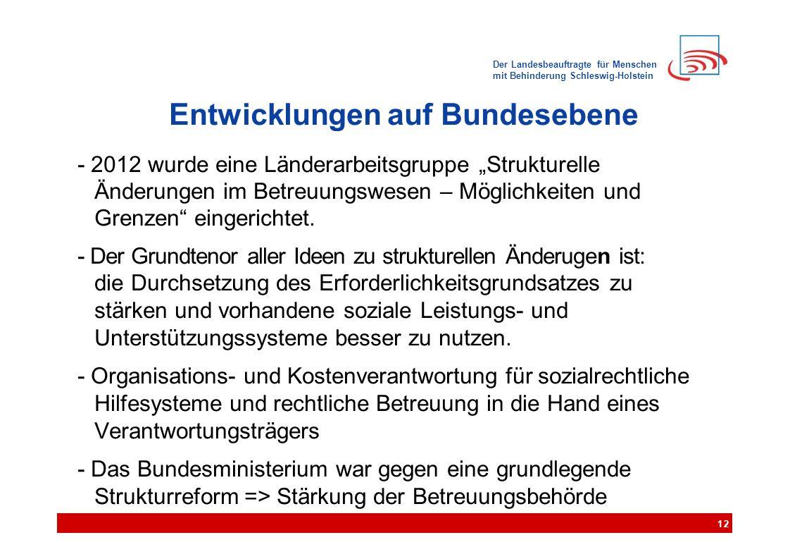 """Der Landesbeauftragte für Menschen mit Behinderung Schleswig-Holstein Entwicklungen auf Bundesebene - 2012 wurde eine Länderarbeitsgruppe """"Strukturelle Änderungen im Betreuungswesen – Möglichkeiten und Grenzen eingerichtet."""