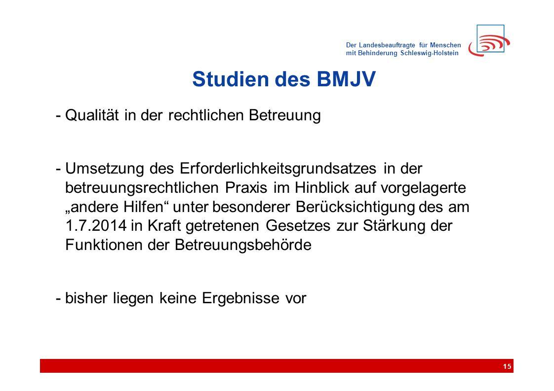 Der Landesbeauftragte für Menschen mit Behinderung Schleswig-Holstein Studien des BMJV - Qualität in der rechtlichen Betreuung - Umsetzung des Erforde