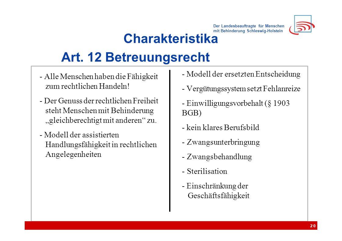 Der Landesbeauftragte für Menschen mit Behinderung Schleswig-Holstein Charakteristika Art. 12 Betreuungsrecht 20 - Alle Menschen haben die Fähigkeit z