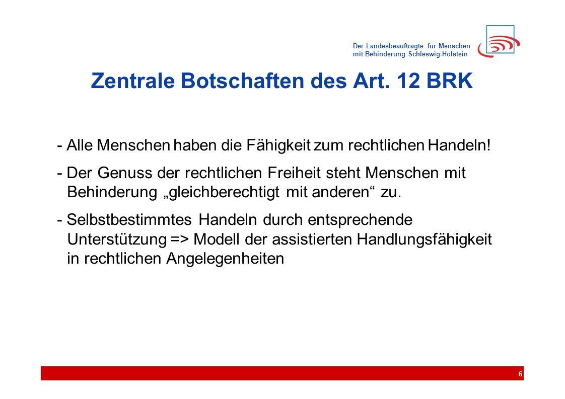 Der Landesbeauftragte für Menschen mit Behinderung Schleswig-Holstein Zentrale Botschaften des Art. 12 BRK - Alle Menschen haben die Fähigkeit zum rec