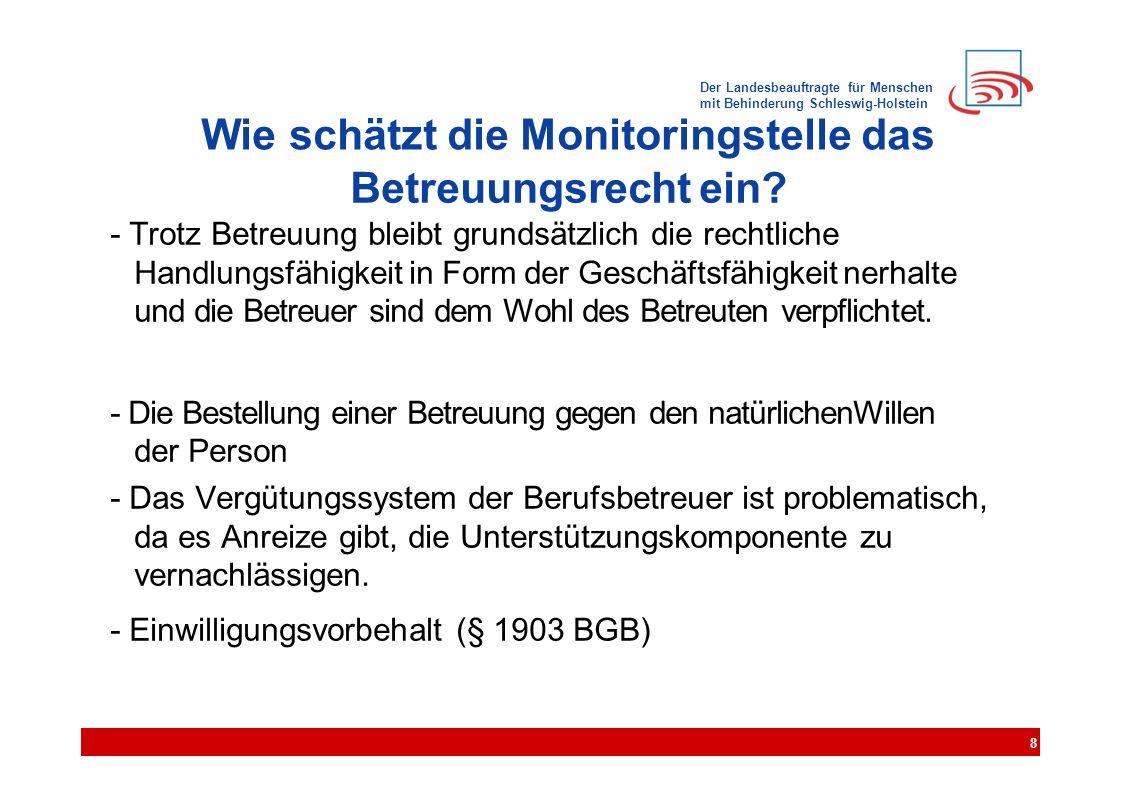 Der Landesbeauftragte für Menschen mit Behinderung Schleswig-Holstein Wie schätzt die Monitoringstelle das Betreuungsrecht ein? - Trotz Betreuung blei