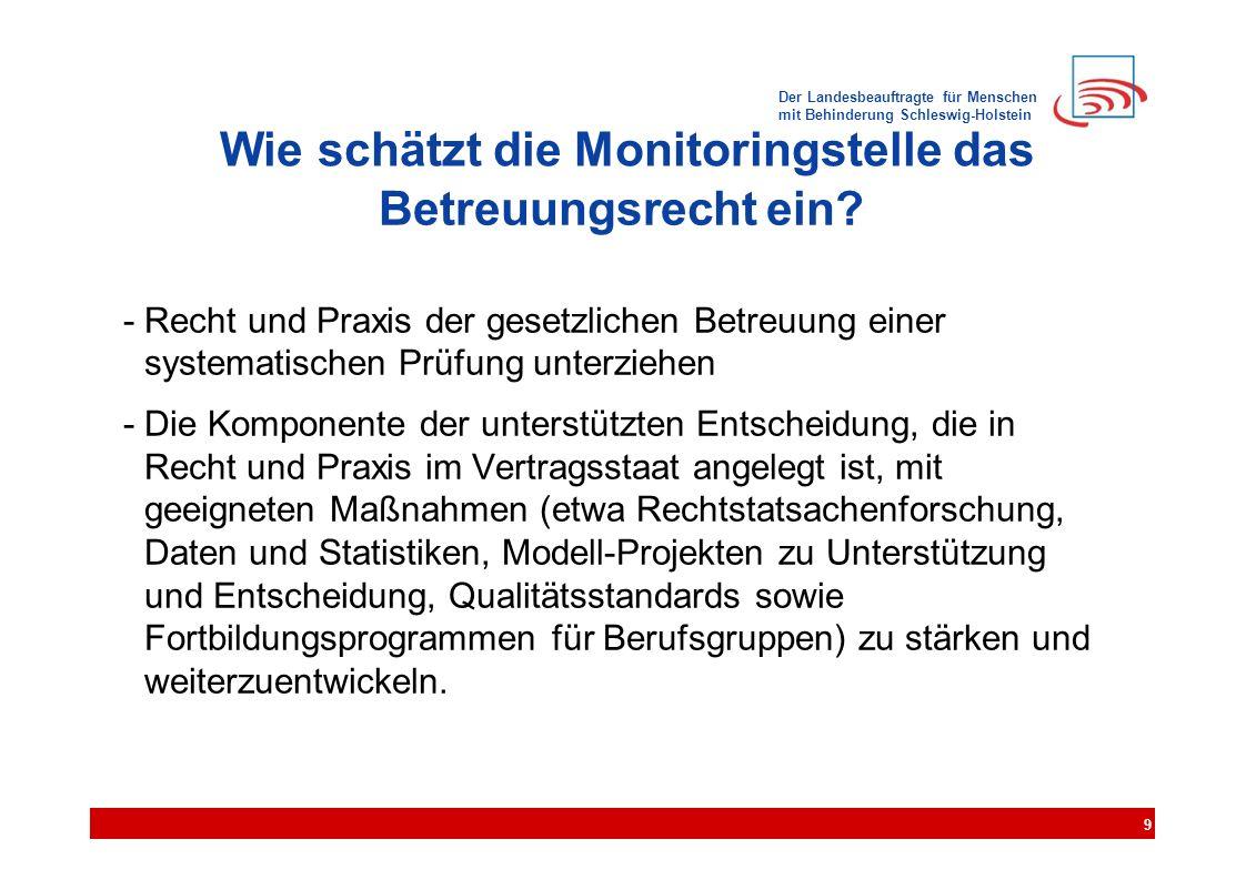 Der Landesbeauftragte für Menschen mit Behinderung Schleswig-Holstein Wie schätzt die Monitoringstelle das Betreuungsrecht ein? - Recht und Praxis der