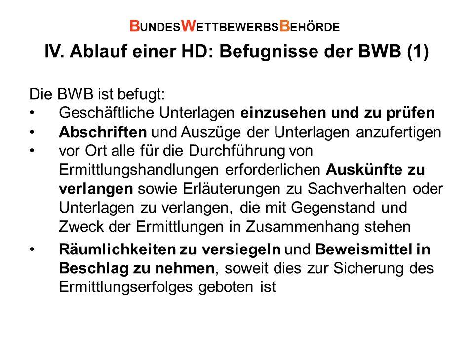 IV. Ablauf einer HD: Befugnisse der BWB (1) Die BWB ist befugt: Geschäftliche Unterlagen einzusehen und zu prüfen Abschriften und Auszüge der Unterlag