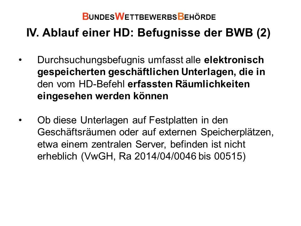 IV. Ablauf einer HD: Befugnisse der BWB (2) Durchsuchungsbefugnis umfasst alle elektronisch gespeicherten geschäftlichen Unterlagen, die in den vom HD