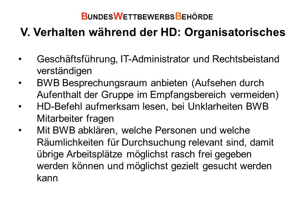 V. Verhalten während der HD: Organisatorisches Geschäftsführung, IT-Administrator und Rechtsbeistand verständigen BWB Besprechungsraum anbieten (Aufse