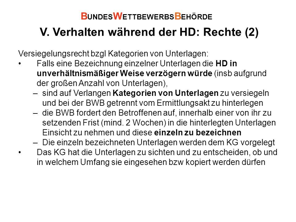 V. Verhalten während der HD: Rechte (2) Versiegelungsrecht bzgl Kategorien von Unterlagen: Falls eine Bezeichnung einzelner Unterlagen die HD in unver