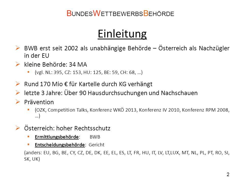 Einleitung  BWB erst seit 2002 als unabhängige Behörde – Österreich als Nachzügler in der EU  kleine Behörde: 34 MA  (vgl.