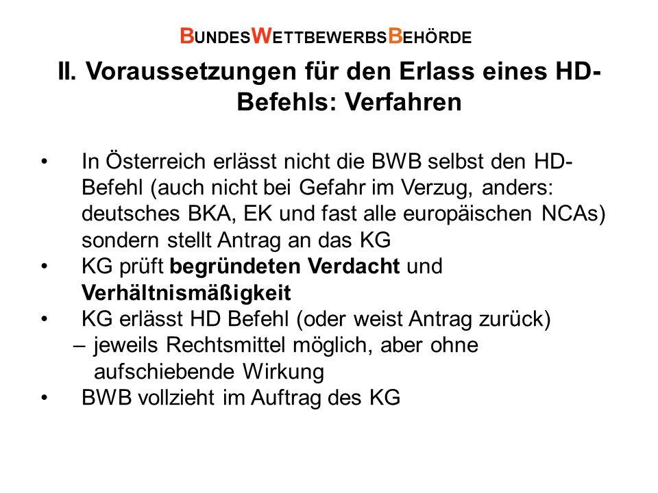 II. Voraussetzungen für den Erlass eines HD- Befehls: Verfahren In Österreich erlässt nicht die BWB selbst den HD- Befehl (auch nicht bei Gefahr im Ve
