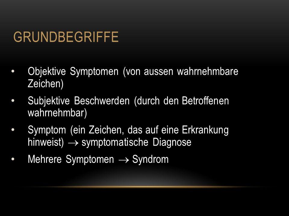 GRUNDBEGRIFFE Objektive Symptomen (von aussen wahrnehmbare Zeichen) Subjektive Beschwerden (durch den Betroffenen wahrnehmbar) Symptom (ein Zeichen, das auf eine Erkrankung hinweist)  symptomatische Diagnose Mehrere Symptomen  Syndrom