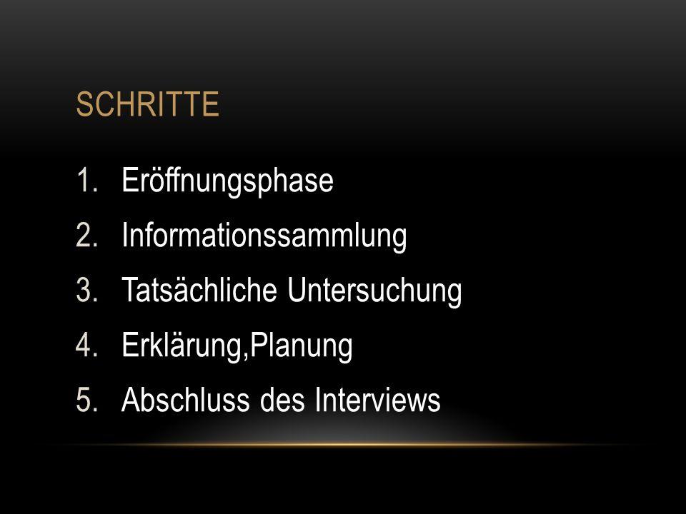 SCHRITTE 1.Eröffnungsphase 2.Informationssammlung 3.Tatsächliche Untersuchung 4.Erklärung,Planung 5.Abschluss des Interviews