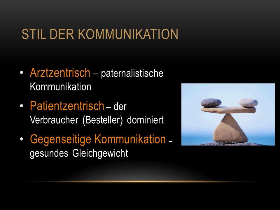 STIL DER KOMMUNIKATION Arztzentrisch – paternalistische Kommunikation Patientzentrisch – der Verbraucher (Besteller) dominiert Gegenseitige Kommunikation – gesundes Gleichgewicht