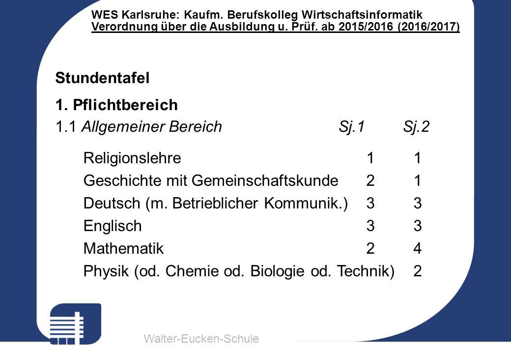 Walter-Eucken-Schule WES Karlsruhe: Kaufm. Berufskolleg Wirtschaftsinformatik Verordnung über die Ausbildung u. Prüf. ab 2015/2016 (2016/2017) Religio