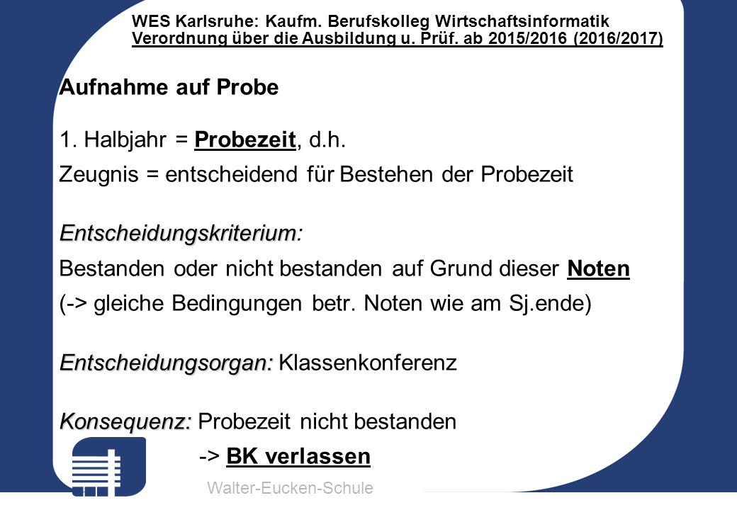 Walter-Eucken-Schule WES Karlsruhe: Kaufm. Berufskolleg Wirtschaftsinformatik Verordnung über die Ausbildung u. Prüf. ab 2015/2016 (2016/2017) Aufnahm