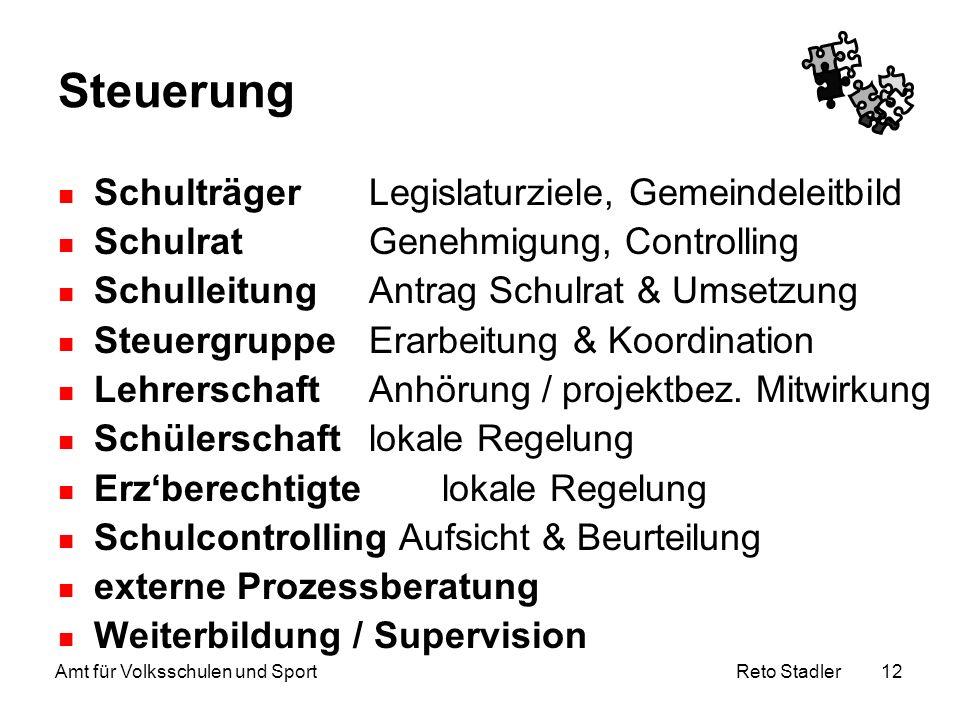 Reto Stadler Amt für Volksschulen und Sport 12 Steuerung Schulträger Legislaturziele, Gemeindeleitbild Schulrat Genehmigung, Controlling Schulleitung