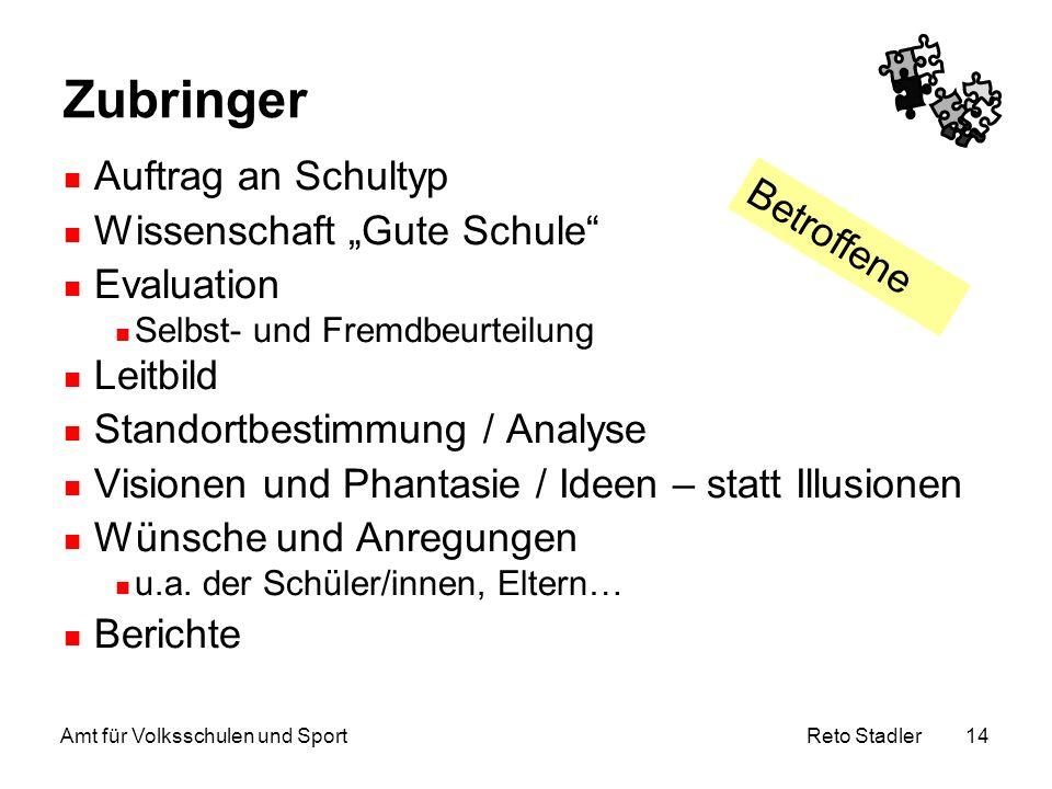"""Reto Stadler Amt für Volksschulen und Sport 14 Zubringer Auftrag an Schultyp Wissenschaft """"Gute Schule"""" Evaluation Selbst- und Fremdbeurteilung Leitbi"""