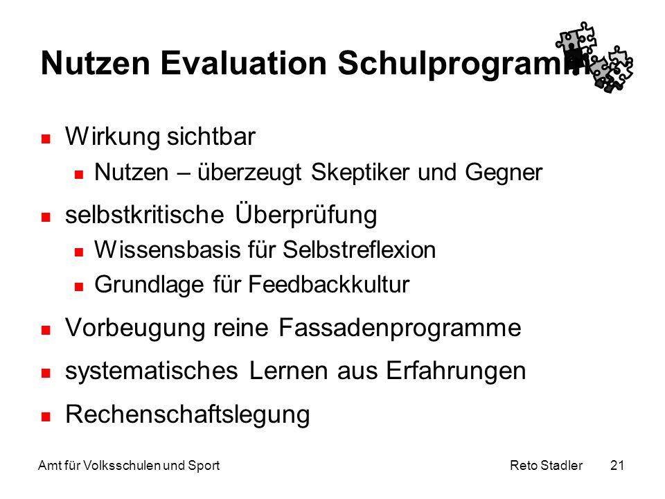 Reto Stadler Amt für Volksschulen und Sport 21 Nutzen Evaluation Schulprogramm Wirkung sichtbar Nutzen – überzeugt Skeptiker und Gegner selbstkritisch