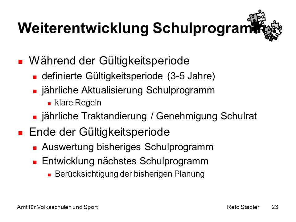 Reto Stadler Amt für Volksschulen und Sport 23 Weiterentwicklung Schulprogramm Während der Gültigkeitsperiode definierte Gültigkeitsperiode (3-5 Jahre