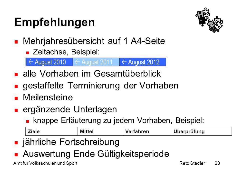 Reto Stadler Amt für Volksschulen und Sport 28 Empfehlungen Mehrjahresübersicht auf 1 A4-Seite Zeitachse, Beispiel: alle Vorhaben im Gesamtüberblick g