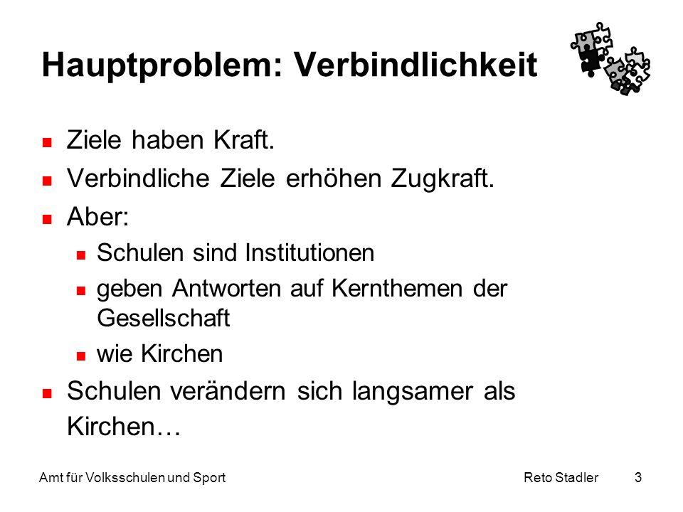 Reto Stadler Amt für Volksschulen und Sport 3 Hauptproblem: Verbindlichkeit Ziele haben Kraft. Verbindliche Ziele erhöhen Zugkraft. Aber: Schulen sind