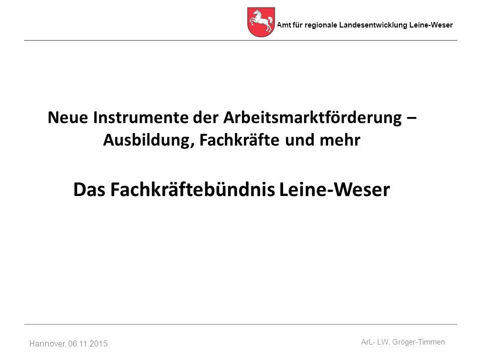 Amt für regionale Landesentwicklung Leine-Weser Hannover, 06.11.2015 Neue Instrumente der Arbeitsmarktförderung – Ausbildung, Fachkräfte und mehr Das Fachkräftebündnis Leine-Weser ArL- LW, Gröger-Timmen