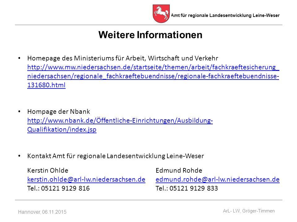 Amt für regionale Landesentwicklung Leine-Weser Hannover, 06.11.2015 Weitere Informationen Homepage des Ministeriums für Arbeit, Wirtschaft und Verkehr http://www.mw.niedersachsen.de/startseite/themen/arbeit/fachkraeftesicherung_ niedersachsen/regionale_fachkraeftebuendnisse/regionale-fachkraeftebuendnisse- 131680.html http://www.mw.niedersachsen.de/startseite/themen/arbeit/fachkraeftesicherung_ niedersachsen/regionale_fachkraeftebuendnisse/regionale-fachkraeftebuendnisse- 131680.html Hompage der Nbank http://www.nbank.de/Öffentliche-Einrichtungen/Ausbildung- Qualifikation/index.jsp http://www.nbank.de/Öffentliche-Einrichtungen/Ausbildung- Qualifikation/index.jsp Kontakt Amt für regionale Landesentwicklung Leine-Weser Kerstin Ohlde kerstin.ohlde@arl-lw.niedersachsen.de Tel.: 05121 9129 816 kerstin.ohlde@arl-lw.niedersachsen.de Edmund Rohde edmund.rohde@arl-lw.niedersachsen.de Tel.: 05121 9129 833 edmund.rohde@arl-lw.niedersachsen.de ArL- LW, Gröger-Timmen