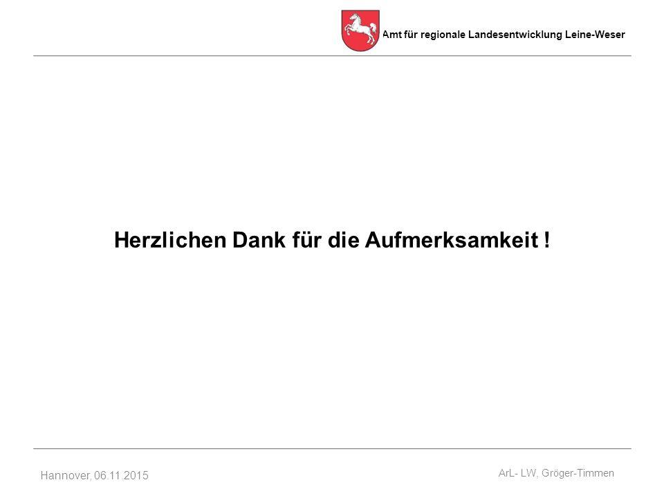 Amt für regionale Landesentwicklung Leine-Weser Hannover, 06.11.2015 Herzlichen Dank für die Aufmerksamkeit .