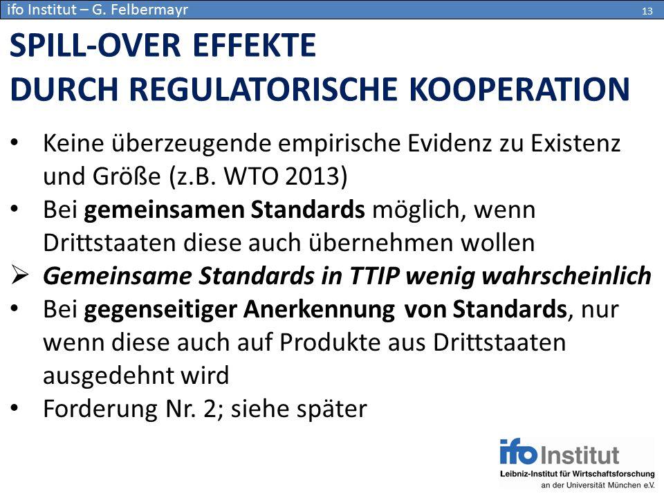 Keine überzeugende empirische Evidenz zu Existenz und Größe (z.B. WTO 2013) Bei gemeinsamen Standards möglich, wenn Drittstaaten diese auch übernehmen