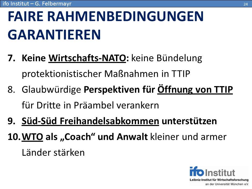 7.Keine Wirtschafts-NATO: keine Bündelung protektionistischer Maßnahmen in TTIP 8.Glaubwürdige Perspektiven für Öffnung von TTIP für Dritte in Präambe