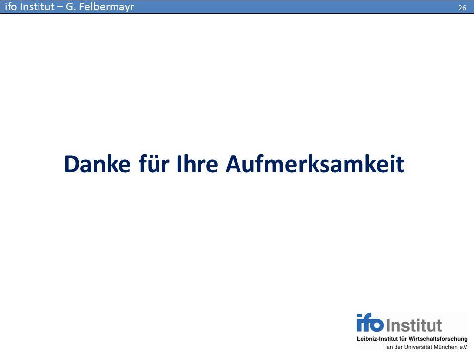 Danke für Ihre Aufmerksamkeit 26 ifo Institut – G. Felbermayr 26
