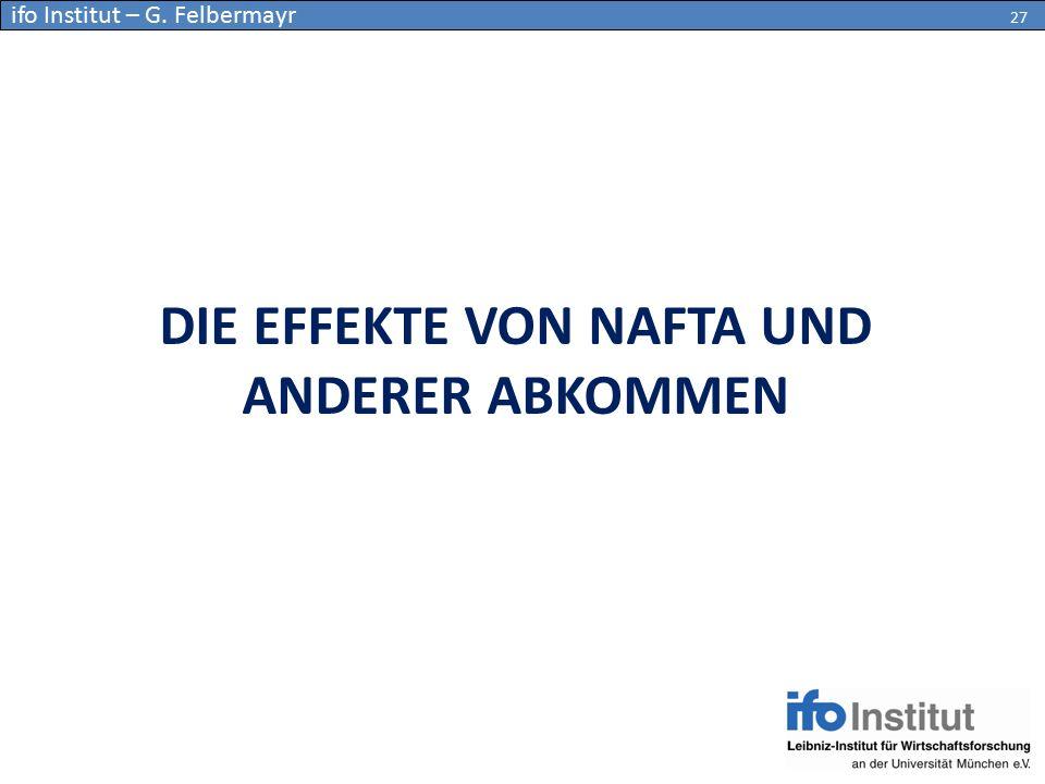 DIE EFFEKTE VON NAFTA UND ANDERER ABKOMMEN 27 ifo Institut – G. Felbermayr 27