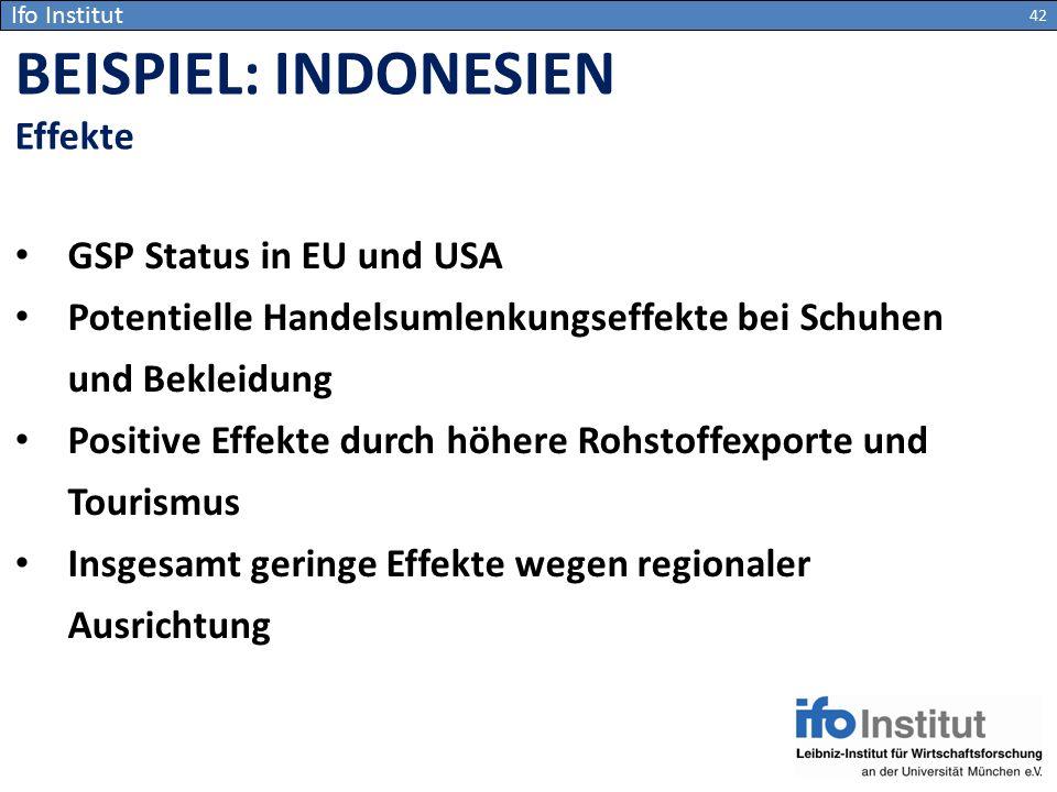 Ifo Institut GSP Status in EU und USA Potentielle Handelsumlenkungseffekte bei Schuhen und Bekleidung Positive Effekte durch höhere Rohstoffexporte un