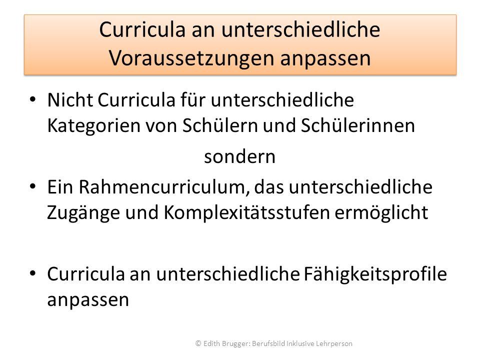 Curricula an unterschiedliche Voraussetzungen anpassen Nicht Curricula für unterschiedliche Kategorien von Schülern und Schülerinnen sondern Ein Rahmencurriculum, das unterschiedliche Zugänge und Komplexitätsstufen ermöglicht Curricula an unterschiedliche Fähigkeitsprofile anpassen © Edith Brugger: Berufsbild Inklusive Lehrperson