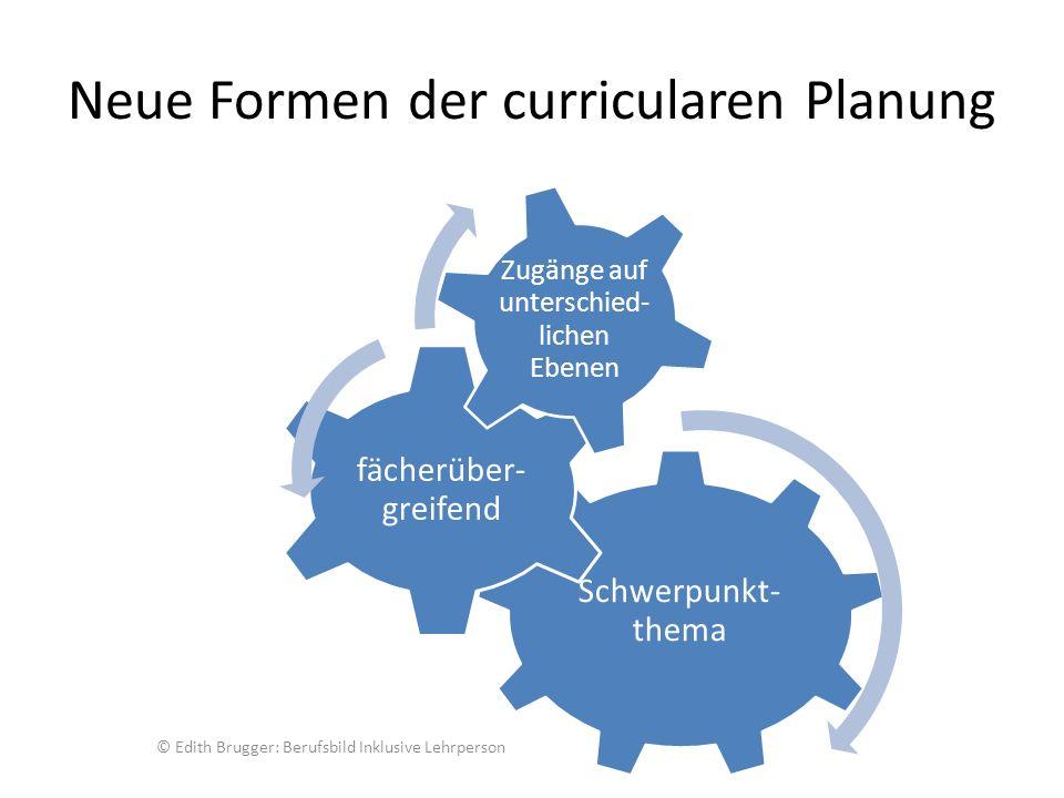 Neue Formen der curricularen Planung Schwerpunkt- thema fächerüber- greifend Zugänge auf unterschied- lichen Ebenen © Edith Brugger: Berufsbild Inklusive Lehrperson