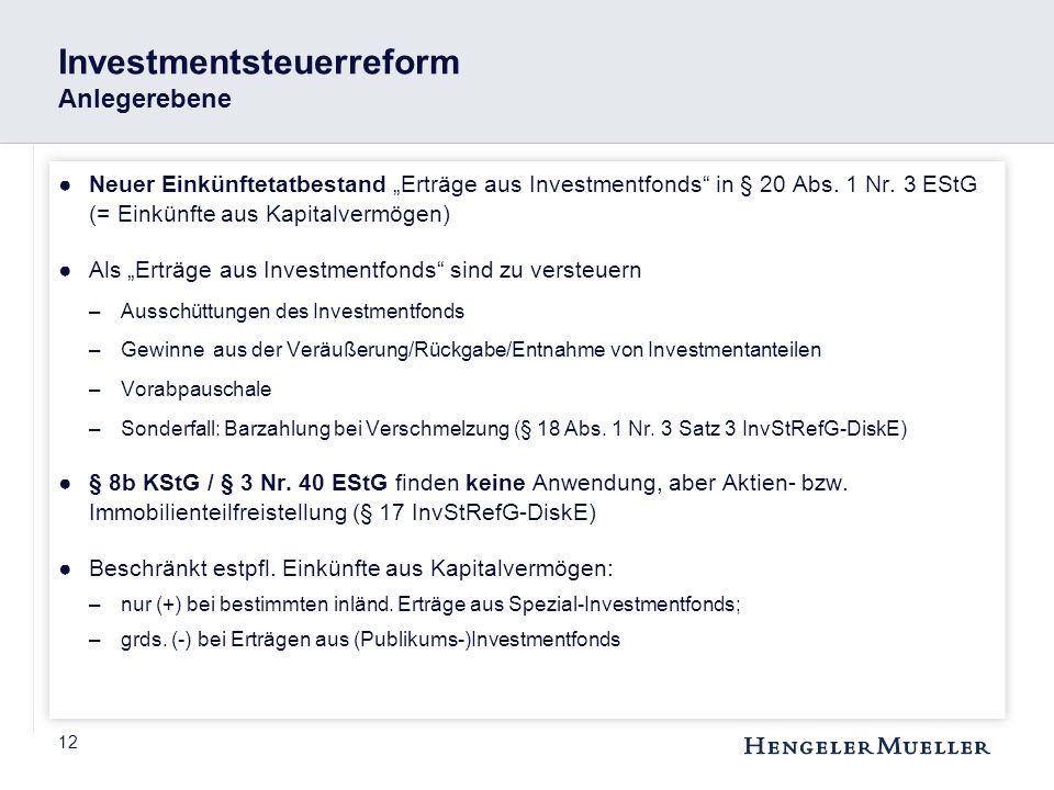 """12 Investmentsteuerreform Anlegerebene ●Neuer Einkünftetatbestand """"Erträge aus Investmentfonds"""" in § 20 Abs. 1 Nr. 3 EStG (= Einkünfte aus Kapitalverm"""