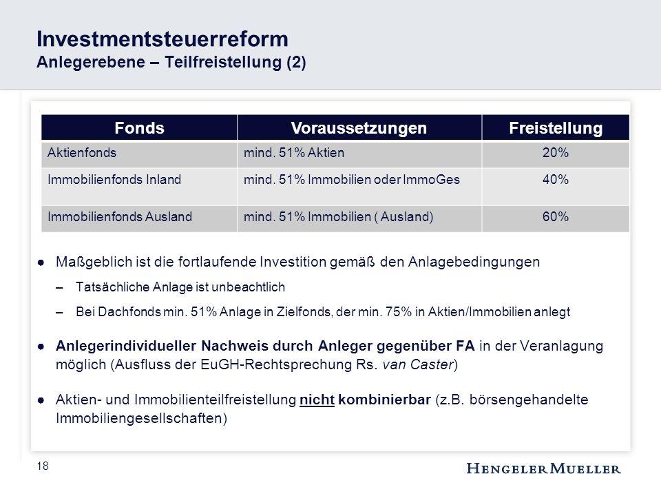 18 Investmentsteuerreform Anlegerebene – Teilfreistellung (2) ●Maßgeblich ist die fortlaufende Investition gemäß den Anlagebedingungen –Tatsächliche A