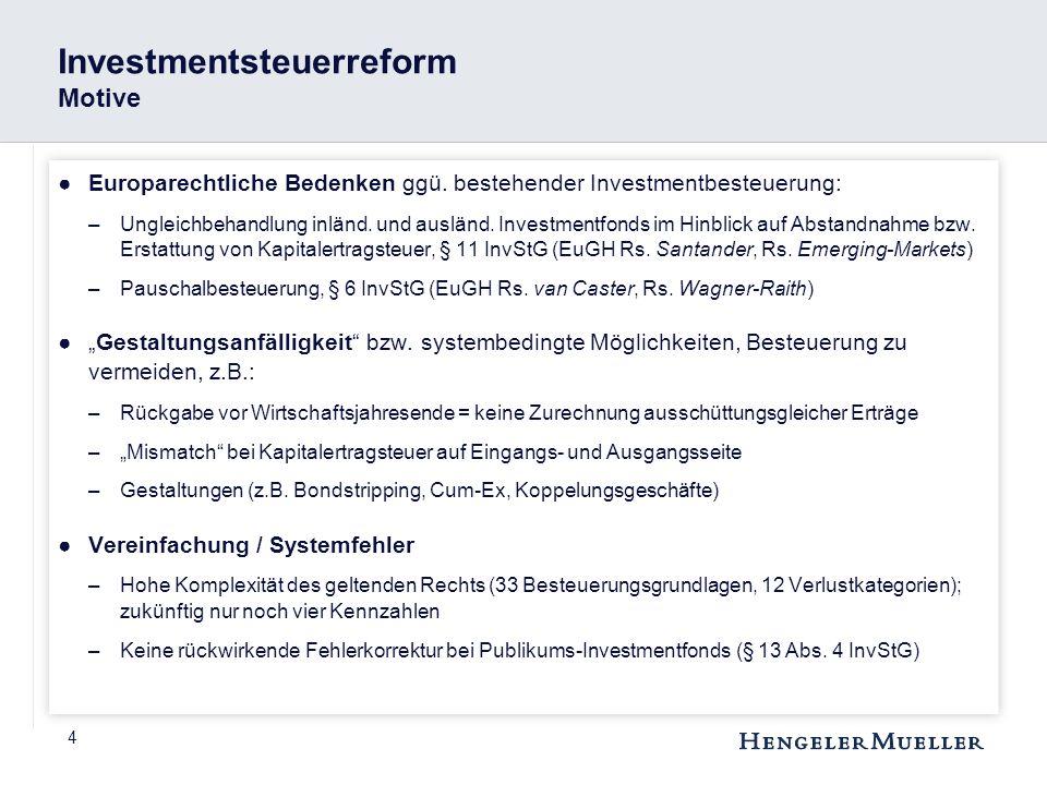 5 Investmentsteuerreform Systematik & Leitgedanken ●Nur noch zwei Steuerregime –(Publikums)-Investmentfonds – nicht mehr semi-transparent –Spezial-Investmentfonds – weiterhin semi-transparent ●Aufgabe der (Semi-)Transparenz => Trennungsprinzip ●Investmentfonds unterliegt KSt (und GewSt), soweit Deutschland international ein Besteuerungsrecht zusteht ●Modifizierte Cashflow-Besteuerung auf Anlegerebene (auch Substanzausschüttungen) ●Typisierter Ausgleich der Vorbelastung auf Fondsebene durch Teilfreistellung