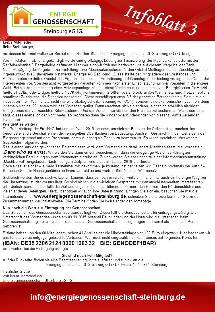 Liebe Mitglieder, liebe Steinburger, mit diesem Infobrief wollen wir Sie auf den aktuellen Stand Ihrer Energiegenossenschaft- Steinburg eG i.G.