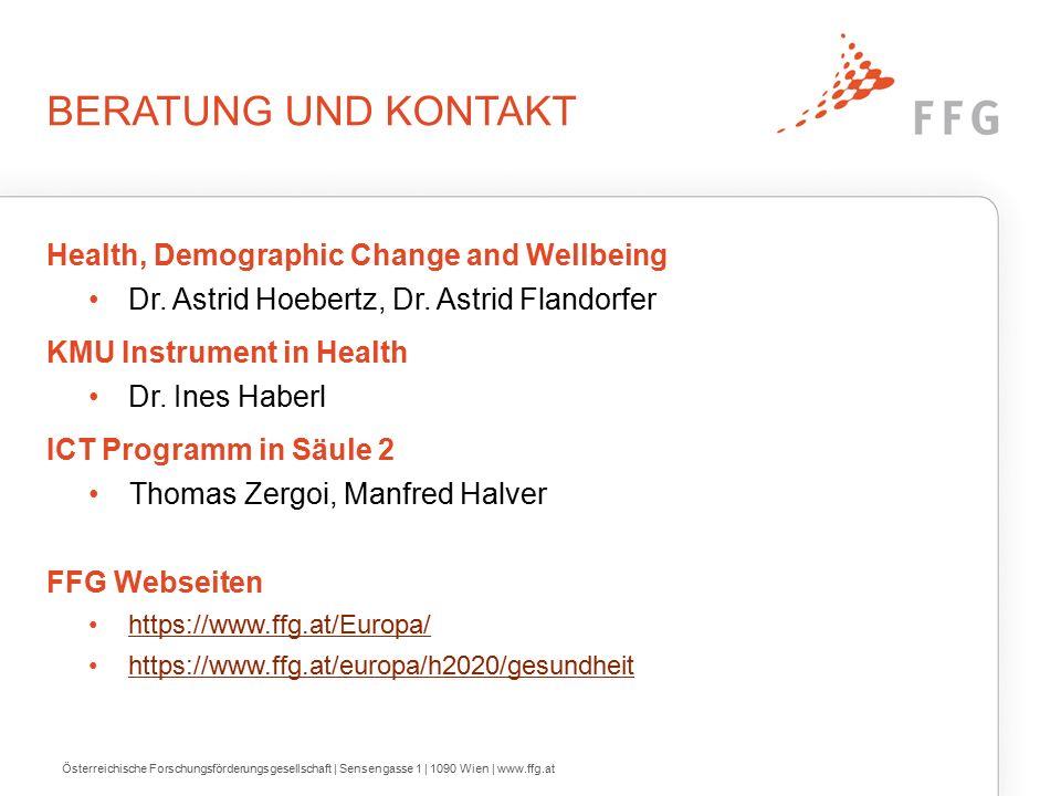 BERATUNG UND KONTAKT Health, Demographic Change and Wellbeing Dr.