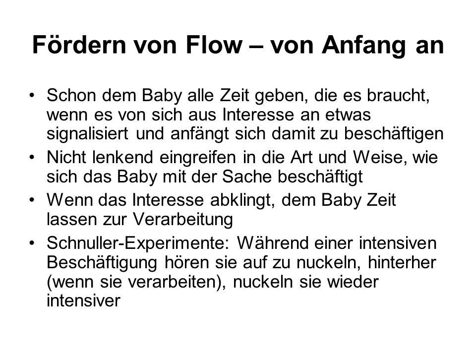 Fördern von Flow – von Anfang an Schon dem Baby alle Zeit geben, die es braucht, wenn es von sich aus Interesse an etwas signalisiert und anfängt sich